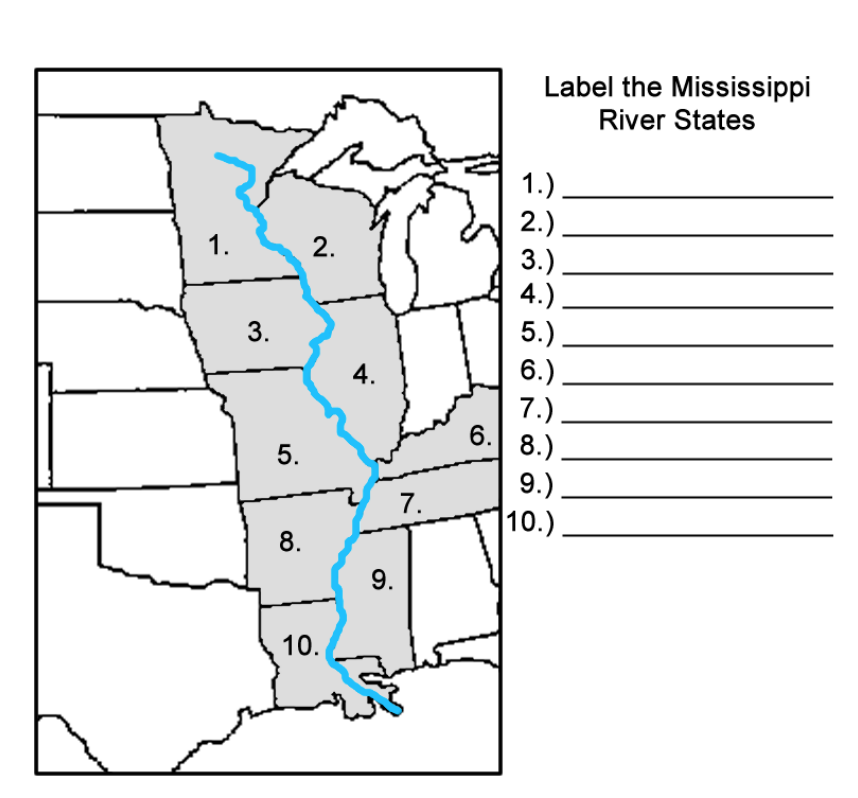 a map of the mississippi river This Is A Printable Mississippi River States Label Me Map a map of the mississippi river