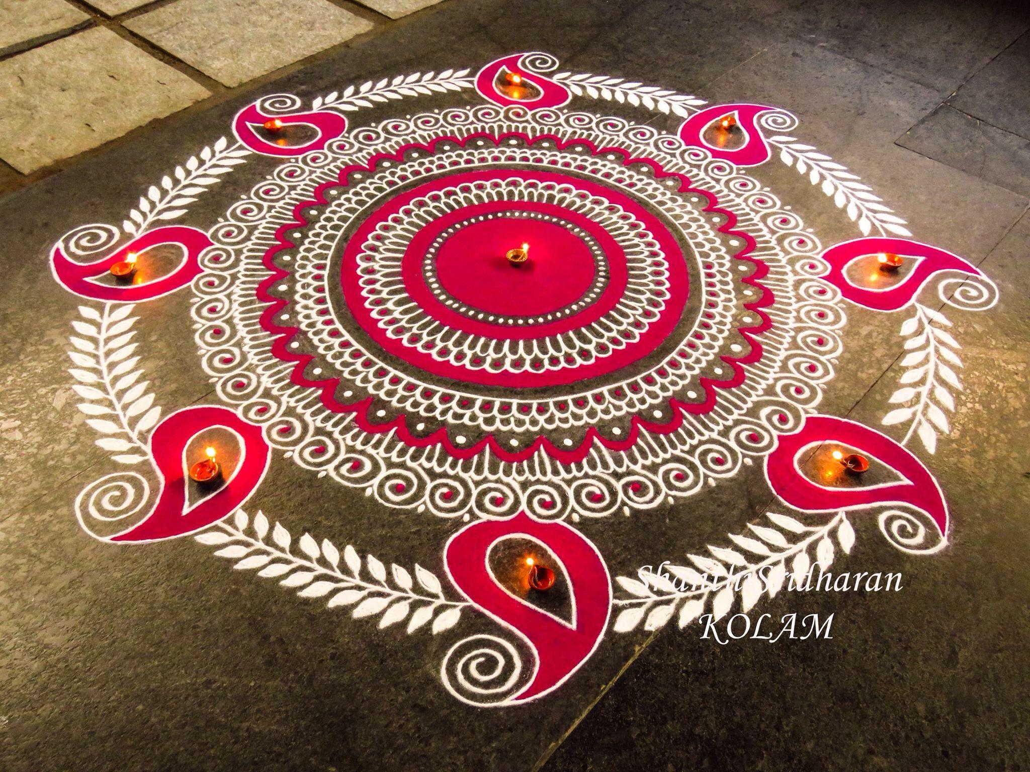 Flower Rangoli Indian Diwali Designs Easy Ideas Patterns Kolam Beautiful
