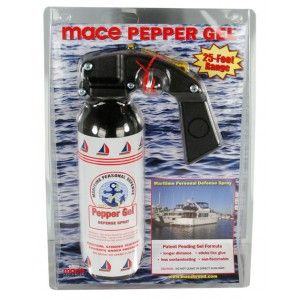 10% Mace Pepper Gel Maritime Spray  PEPPER GEL MARITIME is an ideal product for personal defense on boats – whether on the water or docked at a marina – because the thick formula limits the chance of it blowing back, or away from the assailant in windy conditions. The Mace Pepper Gel Maritime defense contains 330 grams and empties in 6 seconds, with an effective range of up to 25 feet.