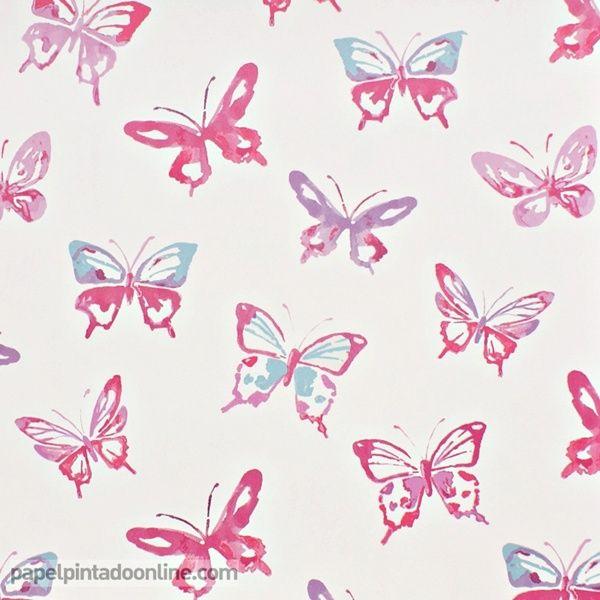 Papel pintado infantil summer camp 7275 02 03 con dibujos - Papel pintado mariposas ...