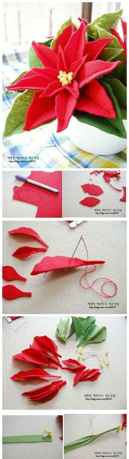 Come Costruire Una Stella Di Natale.Come Fare Una Stella Di Natale Con Feltro Christmas Pinterest