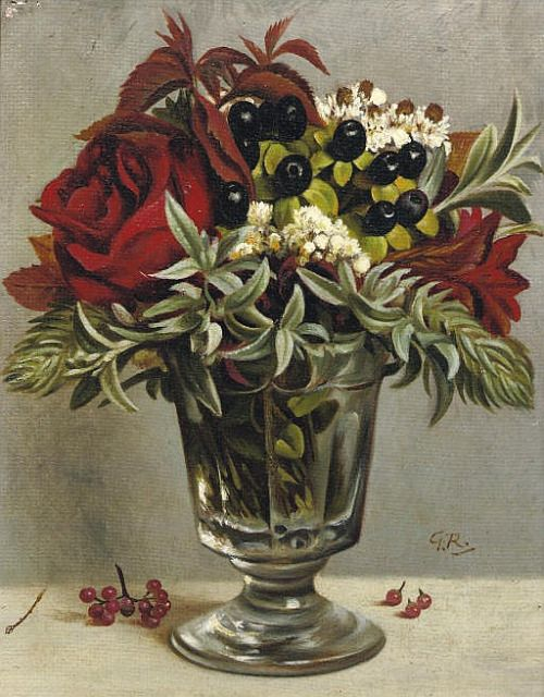 Gerard Victor Alphons Röling (1904-1981) - Bouquet in a glass, oil on panel, 18 x 14,5 cm.