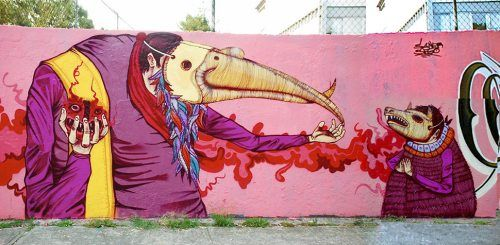 "Mexican street art by Edgar ""Saner"" Flores"