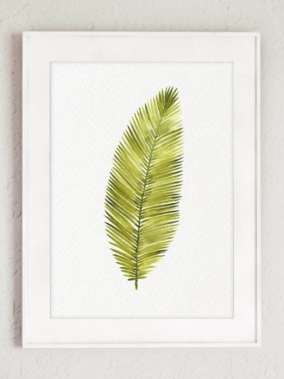 Watercolor Leaf Abstract Wall Decor, Minimalist Modern Painting ...
