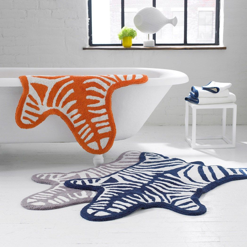 Jonathan Adler Navy Zebra Bath Rug #zincdoor