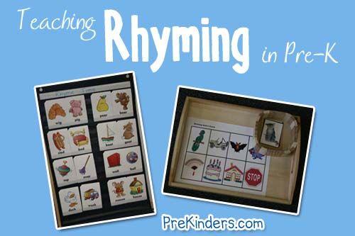 Teaching rhyming to preschool children.