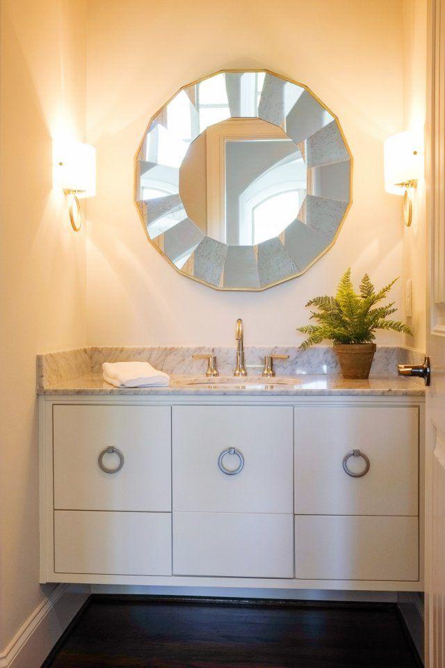 Custom built bathroom vanity for a powder