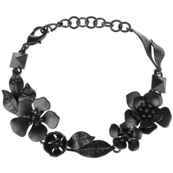 Valentino Bracelet Trigger Hook Flowers Brass Black in black,... ($270) ❤ liked on Polyvore featuring jewelry, bracelets, black, valentino jewelry, flower jewellery, blossom jewelry, brass jewelry and flower jewelry