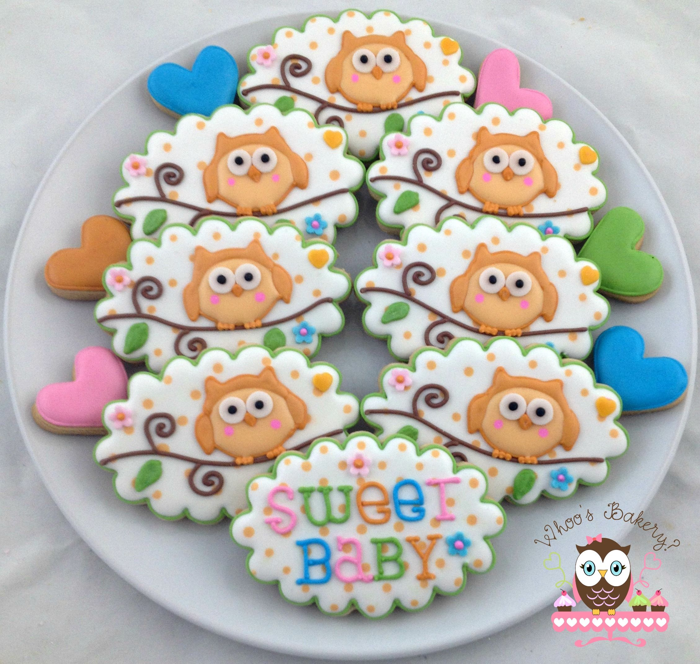 Owl Decorated Cookies Gender Neutral Baby Shower Cookies Rattle Cookies Owl Cookies
