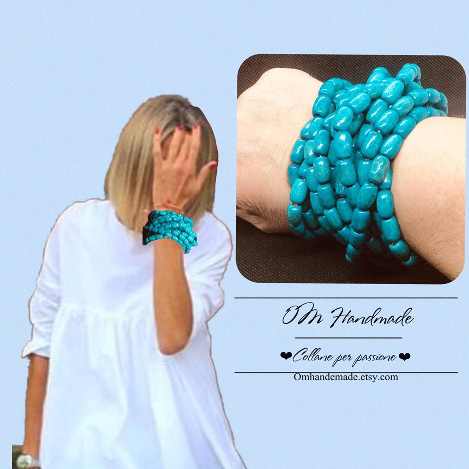 codice promozionale c0ef0 64bb2 Bracelet, turquoise wood bracelets, personalizabile multi ...