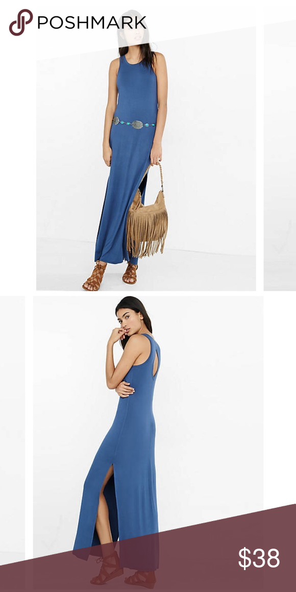 7531b300d15 LAST⬇️Blue Keyhole Maxi Dress from Express Beautiful and light weight blue  maxi dress from express. Size Small. Has slits on the legs and also has a  ...