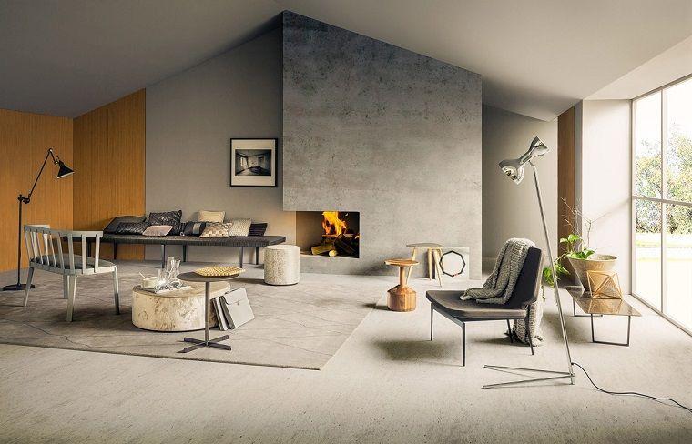 Interni casa, soggiorno con camino moderno, arredamento con panchina ...