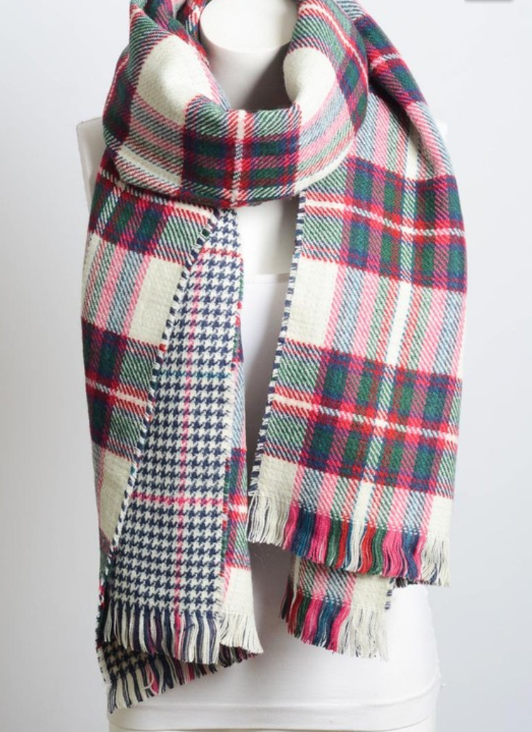 c80177e7f White Blend Classic Plaid Blanket Scarf | Products | Plaid blanket ...