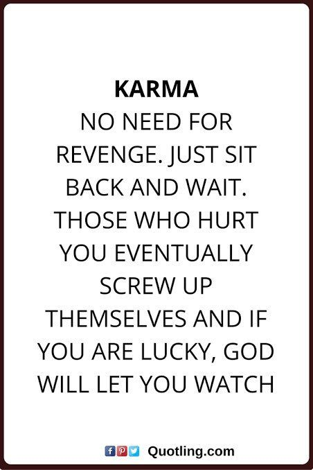 Karma Takes back that Revenge You just Relax