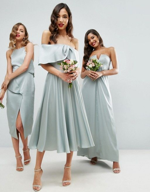 Modern Bridesmaids Look Asos Wedding Bardot Fold Prom Midi Dress