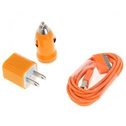 Mini 3 in 1 Charger Kit US Plug USB Power Adapter + Car Charger + 2m USB Cable for iPhone/iPod - Orange (ORANGE) | Everbuying.com
