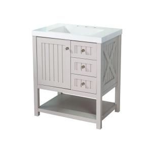 Martha Living Seal Harbor 30 In Vanity Sharkey Gray With Top Alpine White Sl30p2com Sg At The Home Depot Mobile