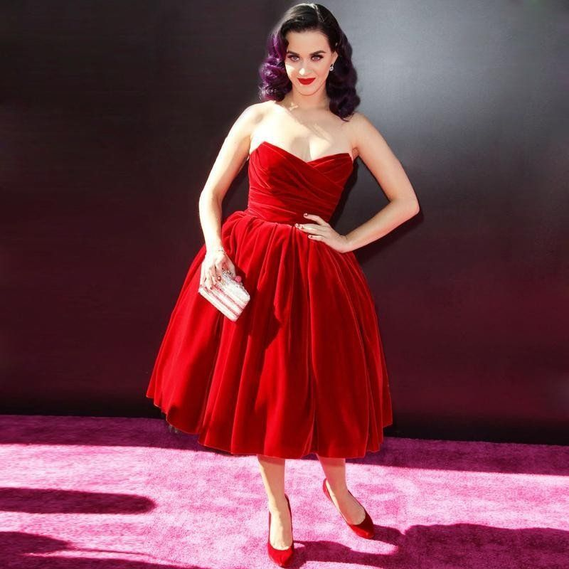 Knee length red prom dress