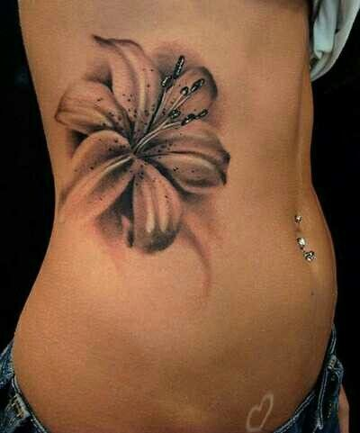 black and white flower tattoo i like that it has no. Black Bedroom Furniture Sets. Home Design Ideas