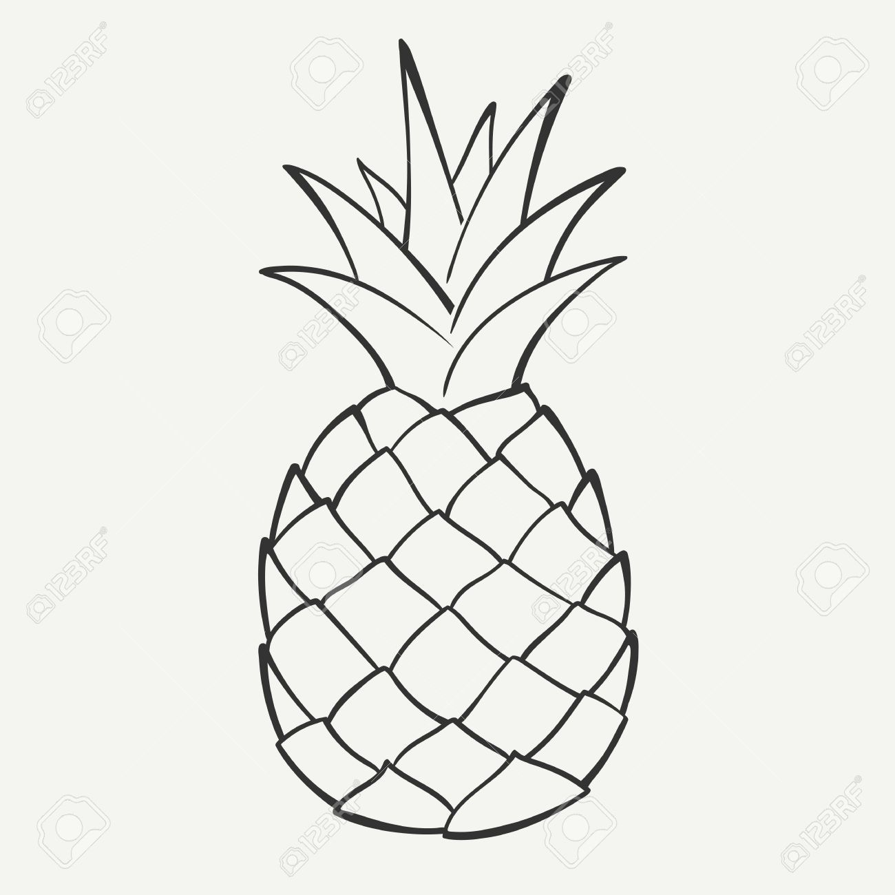 Outline Black And White Image Of A Pineapple Royalty Free Cliparts ... for Clipart Pineapple Black And White  111ane