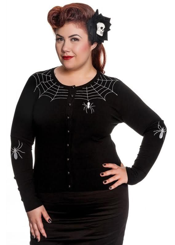 c99e1214b73cf Plus Size Spider Cardigan by Hell Bunny - In Black