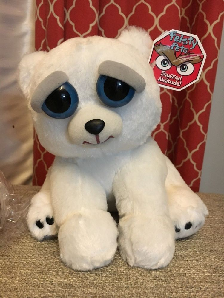 Polar Bear Fiesty Feisty Pets Stuffed Animal Plush Toy Scary Cute Squeeze Pet Unbranded Animal Plush Toys Soft