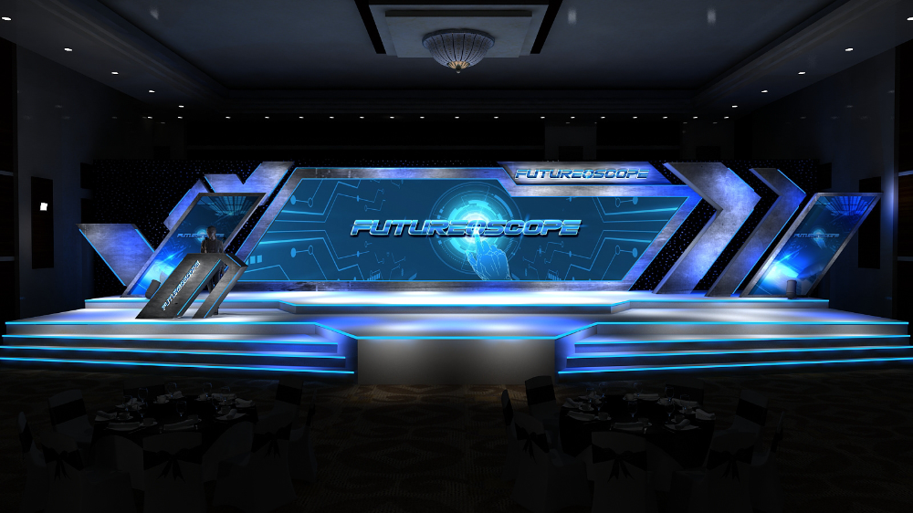 Futuristic Stage Design For Pmi On Behance Stage Set Design Corporate Event Design Stage Design