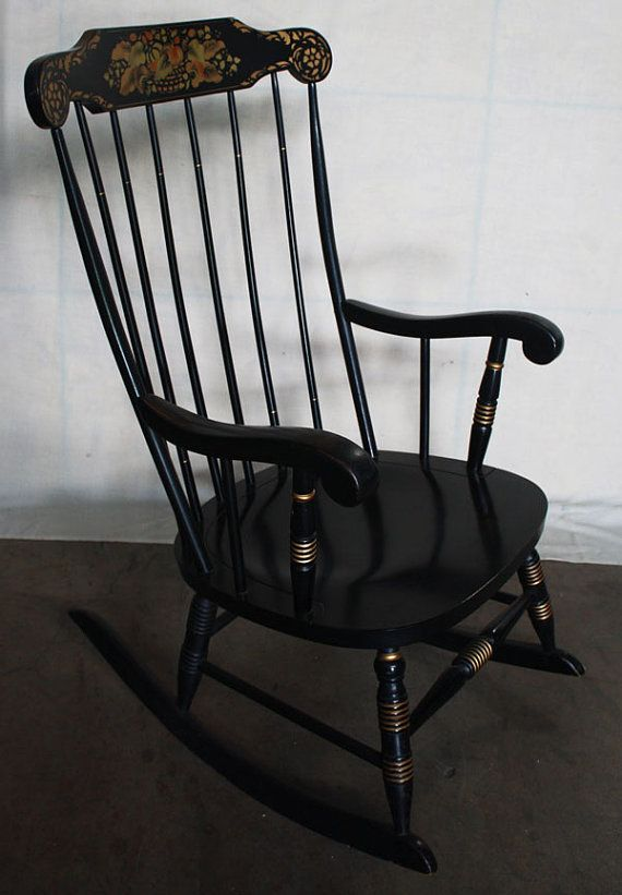 Vintage Black Hitchcock Rocker Rocking Chair by ScrantonAttic, $199.99 - Vintage Black Hitchcock Rocker Rocking Chair By ScrantonAttic