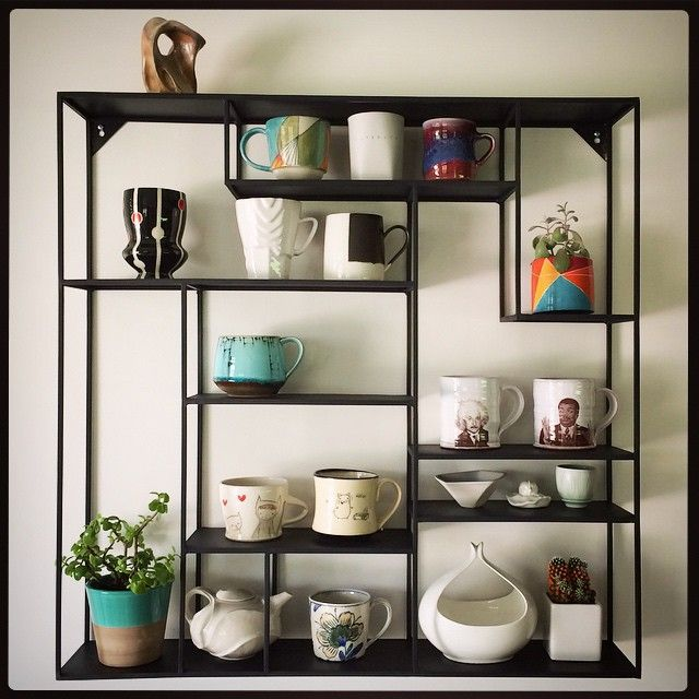 #inspiration but suspended wire } coffee cup display / access