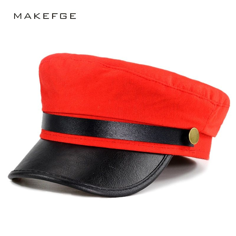 61c1db986 Unisex Women brim Red and black gray Military Hats Autumn Winter ...