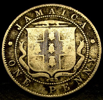 1910 Jamaica 1 Penny SCARCE EDWARDIAN COLONIAL Large Cent COIN