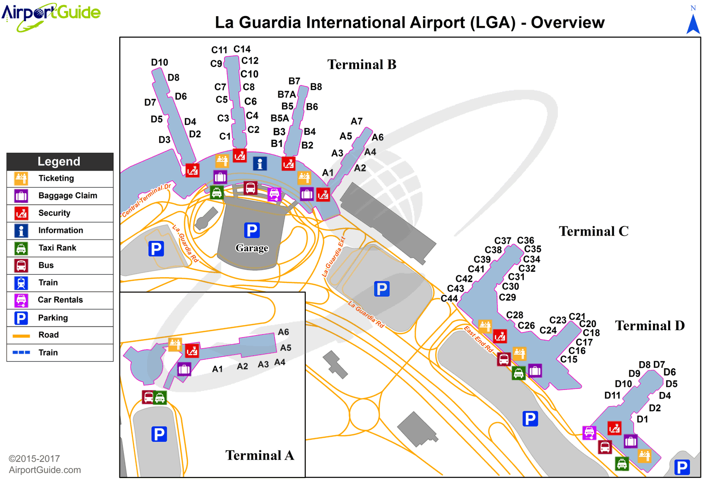 new york lga airport map New York Laguardia Lga Airport Terminal Map Overview new york lga airport map
