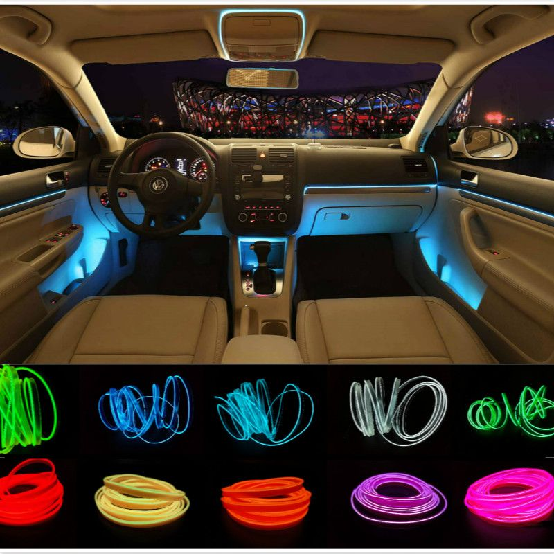 Car styling 3m interior refit light clamping edge el wire flexible neon car decorate with for How to decorate your car interior