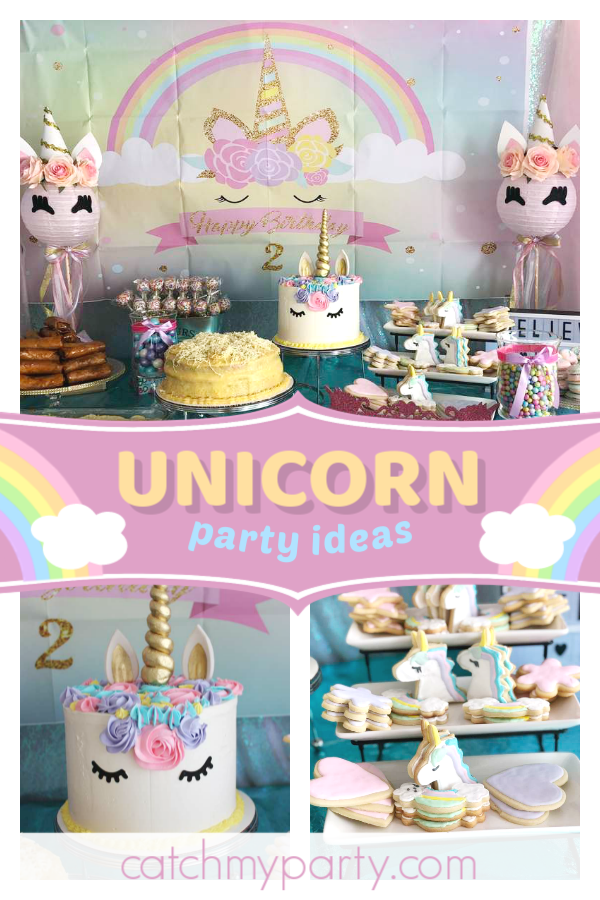c57e5328d12 Swoon over this magical rainbow unicorn birthday party! The cookies are  adorable!! See more party ideas and share yours at CatchMyParty.com   catchmyparty ...