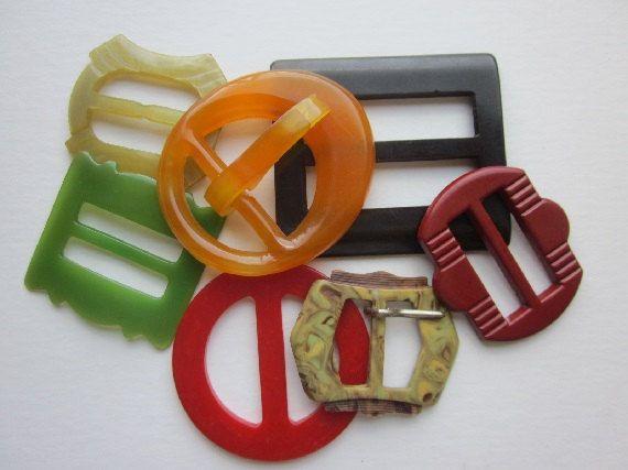 Seven Great Buckles.  Colors  Red, Orange, Black, Green,  Made in Germany, Natural Horn, Bakelite OneWomanRepurposed B 384 by OneWomanRepurposed on Etsy