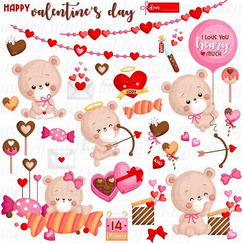 Valentine Bear Clipart Cute Bear Clip Art Chocolate And Etsy Bear Valentines Clip Art Valentines Day Clipart