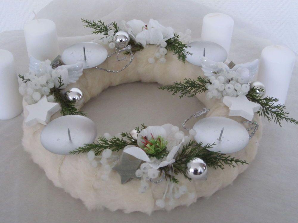Adventskranz, Fell,Kranz,Weihnachten,Tischdeko,Gesteck,Deko,30cm,Flügel,Kugel