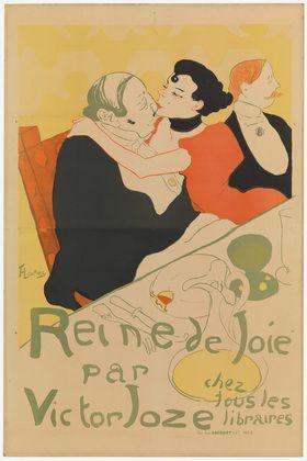 """""""Reine de Joie"""", Reina de la Alegría, que data de 1892, por el artista francés Henri de Toulouse-Lautrec. Con su estilo de dibujo de figuras planas, y colores simples y equilibrados sin mayor deslumbre de volúmen."""