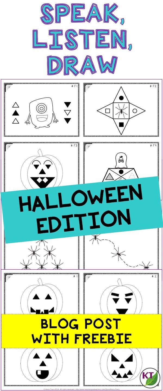 Halloween Speak, Listen, Draw Activity   Communication activities ...