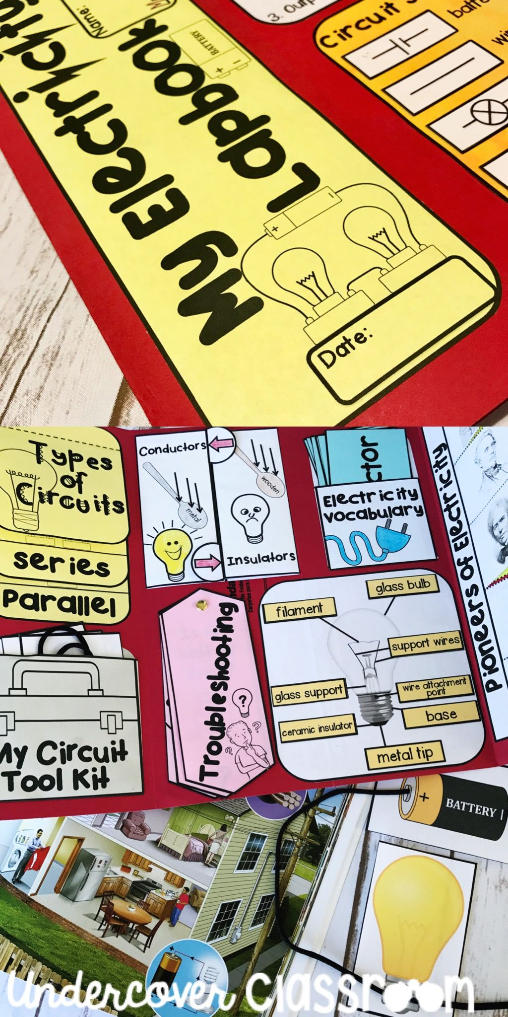 Electricity Lapbook For Grades 3 5 Includes Simple Circuit Types Of Circuits Series Parallel Trouble Shooting Parts Of Lapbook Electricity Simple Circuit
