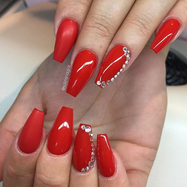 Fire Red Med Stenar Lillynails Birthday Nails Long Red Nails Homecoming Nails