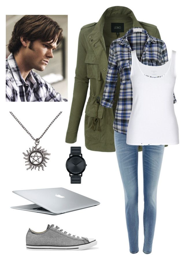 """Supernatural - Sam"" by hahossack ❤ liked on Polyvore featuring LE3NO, Converse, Replay, MAC Cosmetics, Movado, supernatural and CasualCosplay"