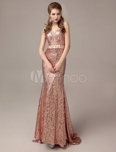 Rose Gold Prom Dresses 2018 Long Nude Mermaid Evening Dress Sequined ...