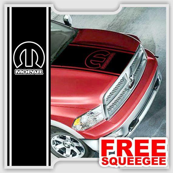 Fits Dodge Ram Truck Hood Single Stripe With Mopar Logo Plain - Chrome custom vinyl decals for trucks