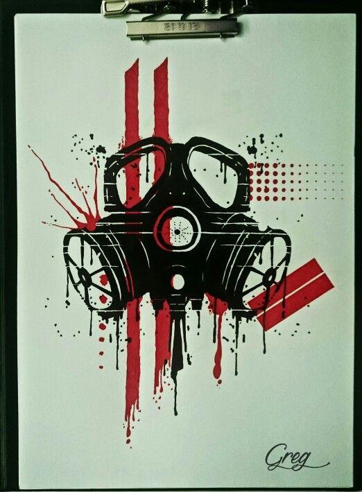 Trash polka gas mask sketch | ink runs deep | Pinterest ... Gas Mask Tattoo Sketch