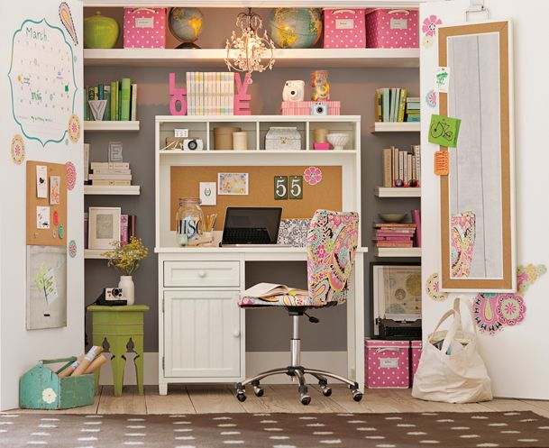 I saw this in the PBteen catalogue recently and thought it was such a clever and cute way to turn a closet into a little study area/office.