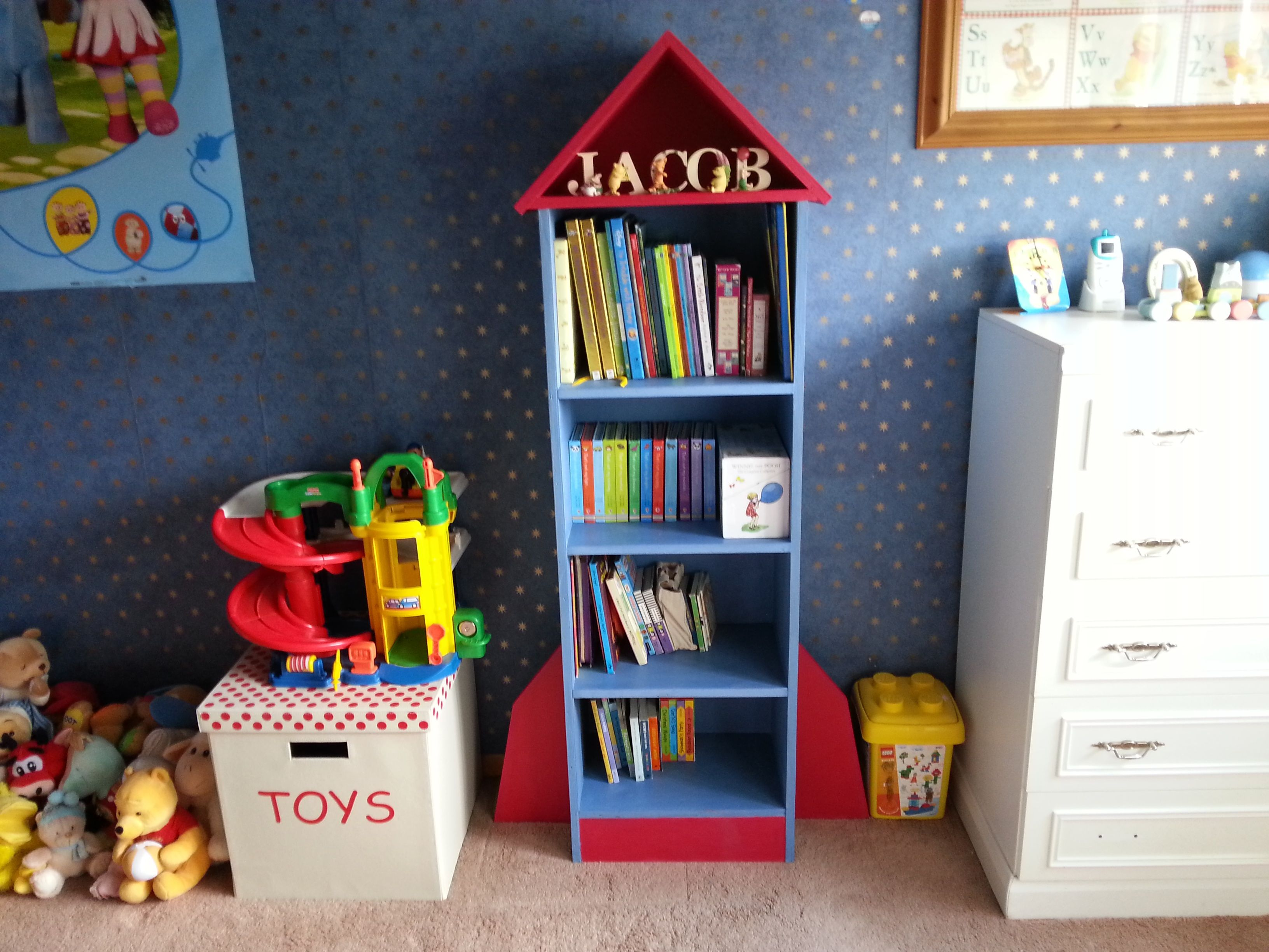Children S Handmade Rocket Shaped Bookcase Or By Byrniture On Etsy
