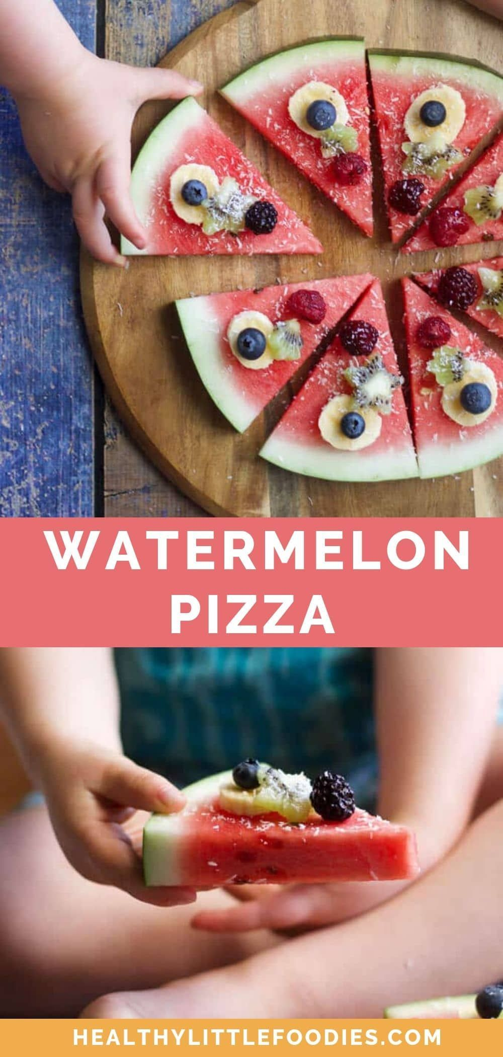This Watermelon Pizza is a fun, fresh and healthy snack for kids. Top pizza shaped wedges of watermelon with a range of different fruits and a sprinkle of coconut for the