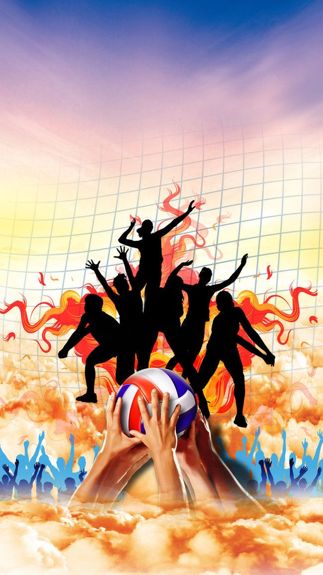 Hot Passion For Volleyball Tournament Poster Background Material