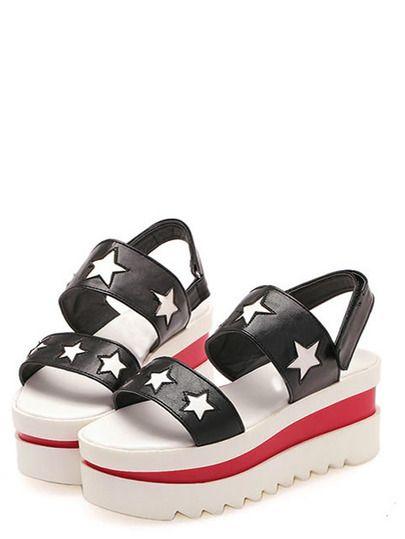 Black Star Print Platform Sandals